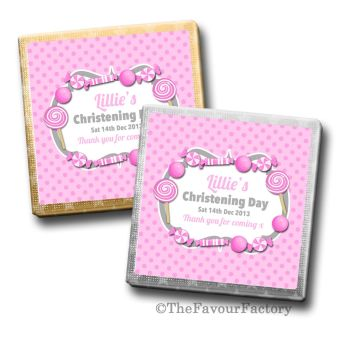 Sweets Theme Pink Christening Personalised Milk Chocolates Squares x10