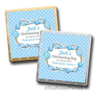 Sweets Theme Blue Christening Personalised Milk Chocolates Squares x10