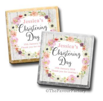 Jessica Florals Christening Personalised Milk Chocolates Squares x10