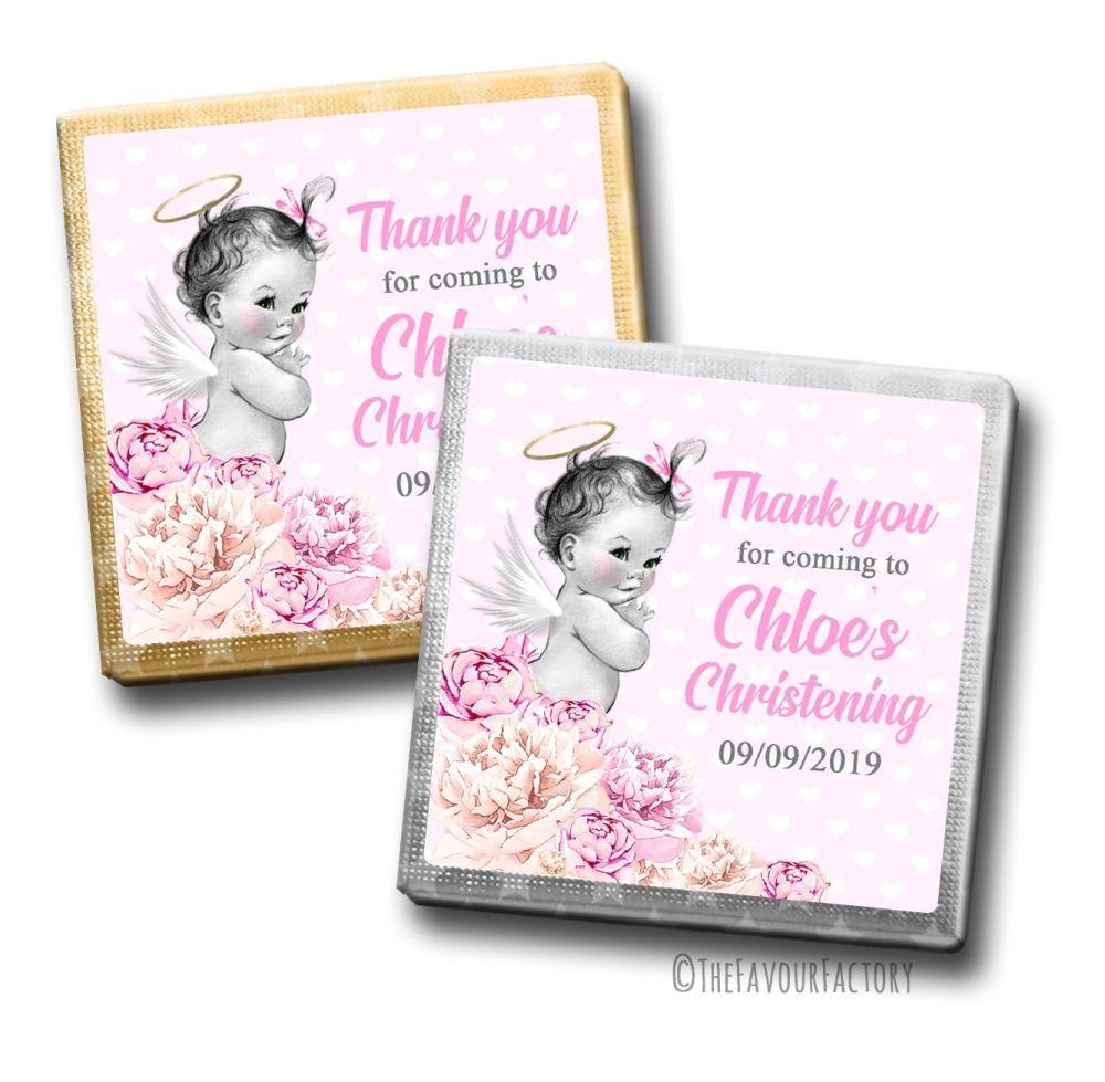 Vintage Baby Girl Floral Christening Personalised Milk Chocolates Squares x