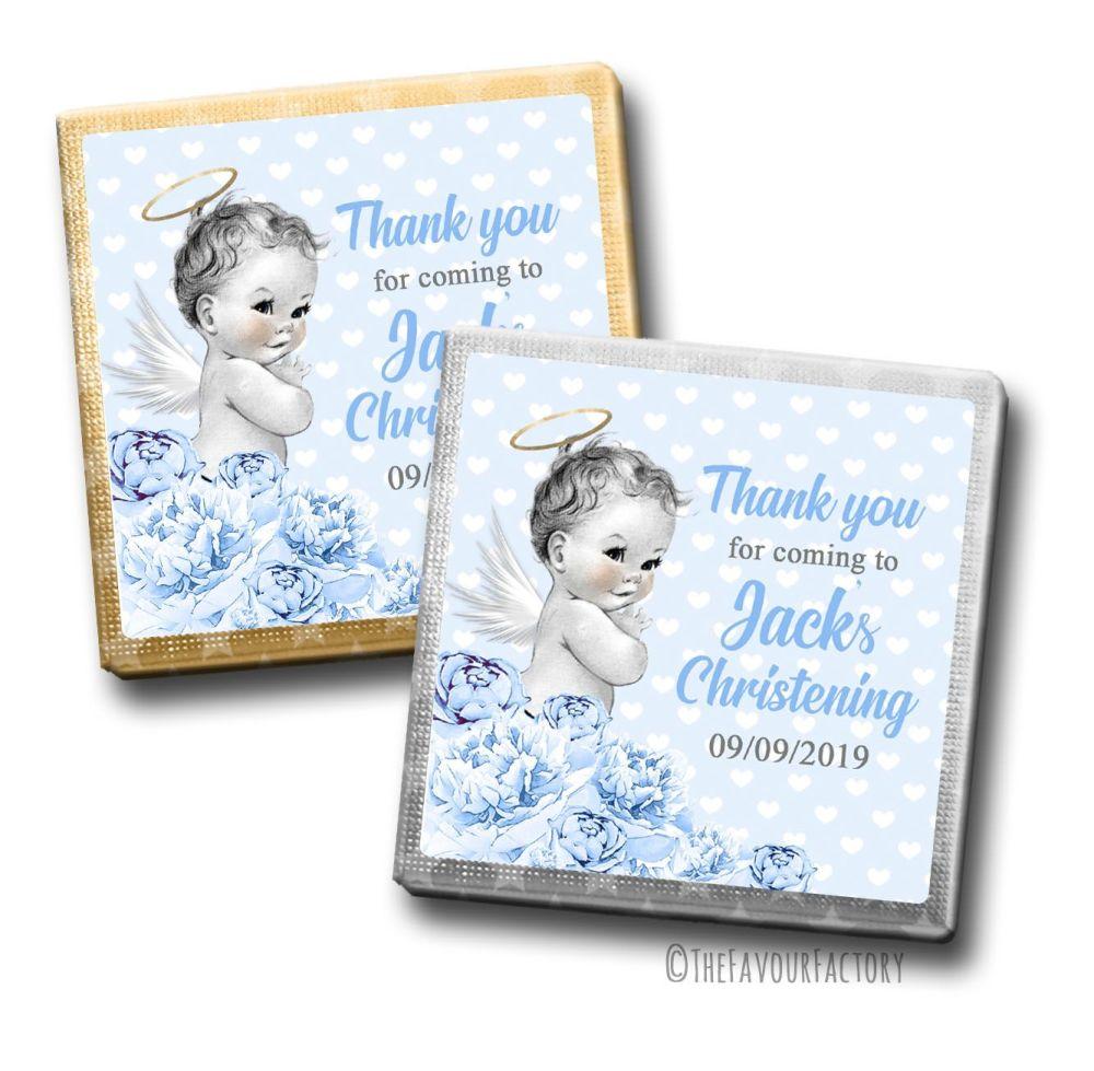 Vintage Baby Boy Floral Christening Personalised Milk Chocolates Squares x1