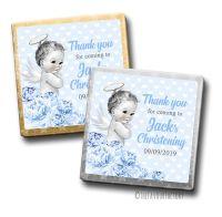 Vintage Baby Boy Floral Christening Personalised Milk Chocolates Squares x10