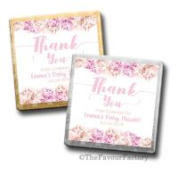 Thank you Florals Pinks Baby Shower Personalised Milk Chocolates Squares x10
