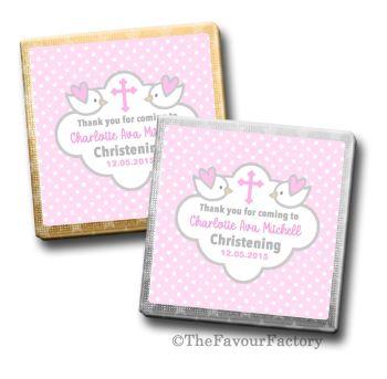 Doves pink Christening Personalised Milk Chocolates Squares x10
