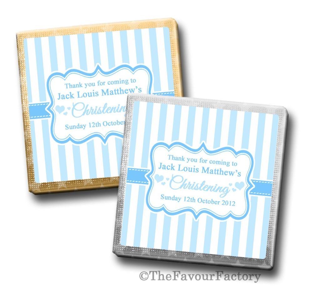 Stripes Blue Christening Personalised Milk Chocolates Squares x10