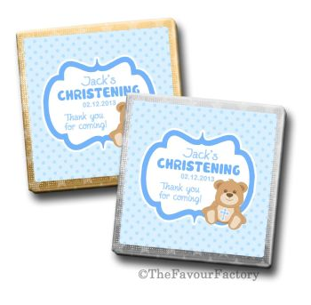 Teddy Bear Blue Christening Personalised Milk Chocolates Squares x10
