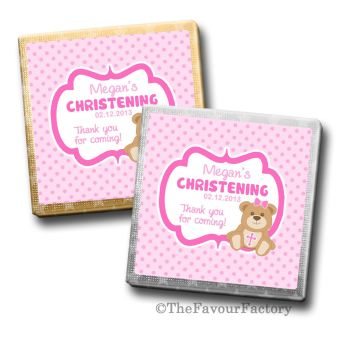 Teddy Bear Pink Christening Personalised Milk Chocolates Squares x10