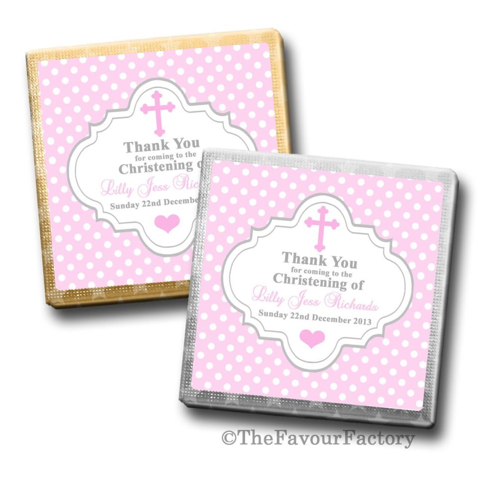 Polka Dots Cross Pink Christening Personalised Milk Chocolates Squares x10