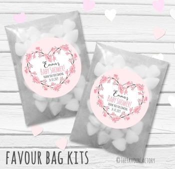 Cherry Blossom Heart Pink Personalised Baby Shower Paper Favour Sweet Bags Kits x12