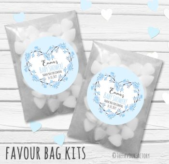Cherry Blossom Blue Personalised Baby Shower Paper Favour Sweet Bags Kits x12