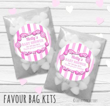 Candy Sweets Pink Theme Personalised Baby Shower Party Paper Favour Sweet Bags Kits x12