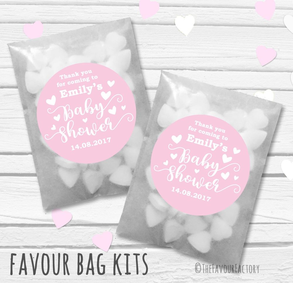 Love Hearts Pink Personalised Baby Shower Party Glassine Paper Favour Bags