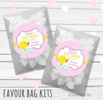 Duck Pink Personalised Baby Shower Paper Favour Sweet Bags Kits x12