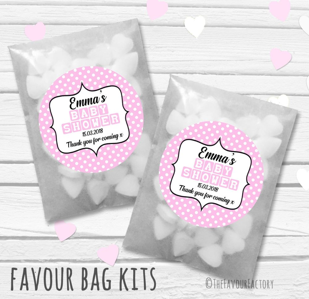 Baby blocks Pink Personalised Baby Shower Party Glassine Paper Favour Bags