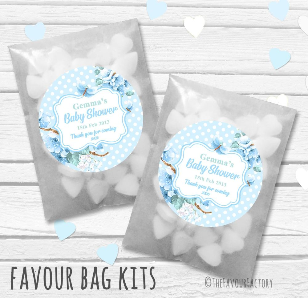 Floral Polka Dots Blue Personalised Baby Shower Paper Favour Sweet Bags Kit
