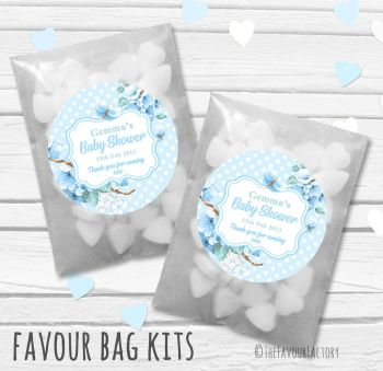 Floral Polka Dots Blue Personalised Baby Shower Paper Favour Sweet Bags Kits x12