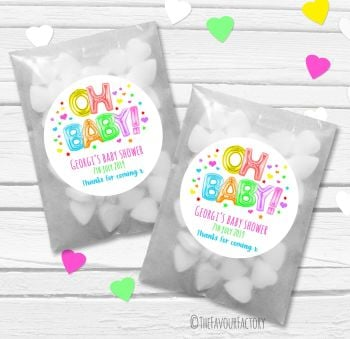 'Oh Baby' Rainbow foil Balloons Personalised Baby Shower Paper Favour Sweet Bags Kits x12