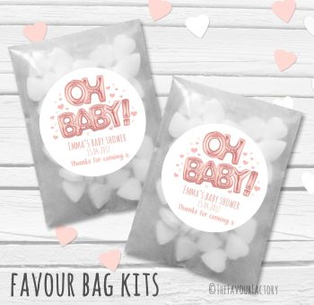 'Oh Baby' Rose Gold foil Balloons Personalised Baby Shower Party Paper Favour Sweet Bags Kits x12
