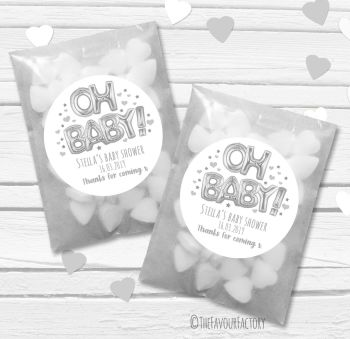 'Oh Baby' Silver foil Balloons Personalised Baby Shower Paper Favour Sweet Bags Kits x12