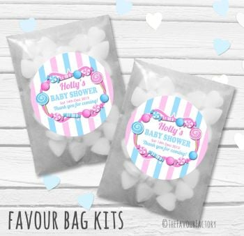 Candy Sweets Pink Blue Theme Personalised Baby Shower Party Paper Favour Sweet Bags Kits x12