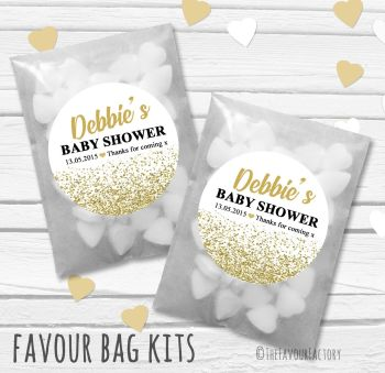 Gold Glitter Confetti Personalised Baby Shower Paper Favour Sweet Bags Kits x12