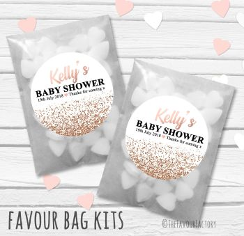 Rose Gold Glitter Confetti Personalised Baby Shower Paper Favour Sweet Bags Kits x12