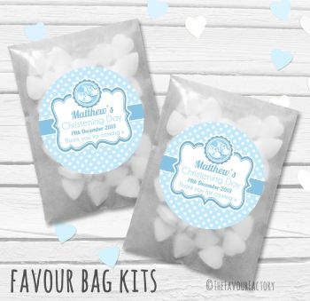 Booties Blue Personalised Christening Glassine Paper Favour Bag Kits x12