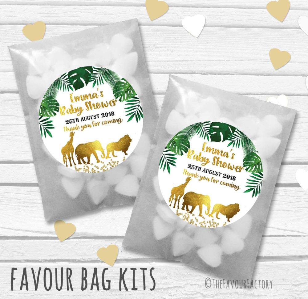 Baby Shower Party Favours Paper Bags Kits Gold Foil Green Safari Animals