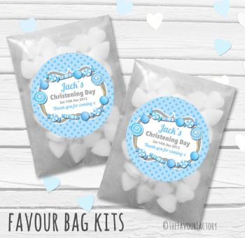Candy Sweets Theme Blue Personalised Christening Glassine Paper Favour Bag Kits x12