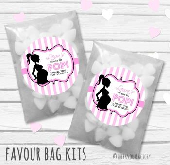 Ready to pop Pink Personalised Baby Shower Paper Favour Sweet Bags Kits x12
