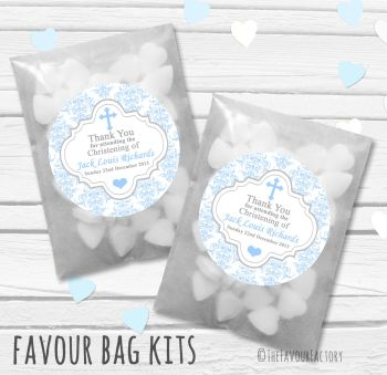 Damask Cross Blue Personalised Christening Glassine Paper Favour Bag Kits x12