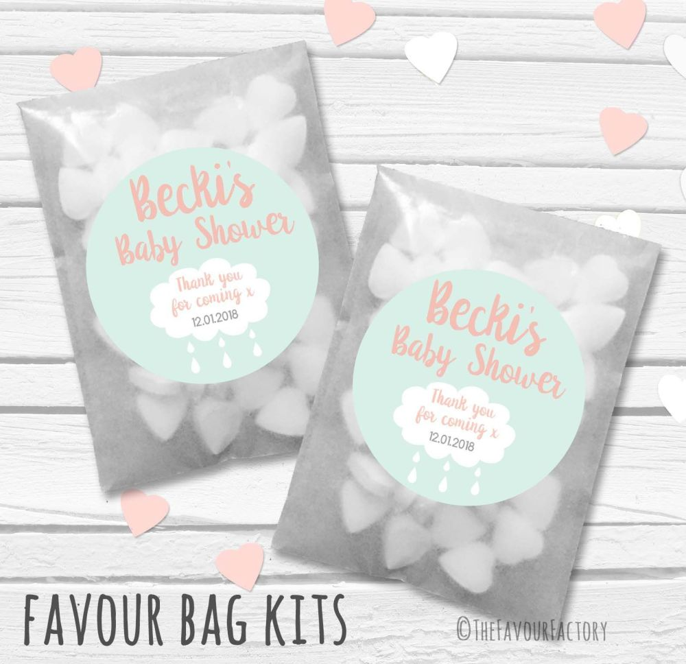 Rain cloud Personalised Baby Shower Paper Favour Sweet Bags Kits x12