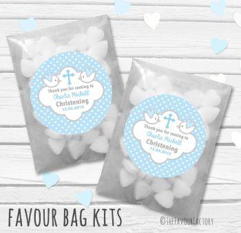 Doves Blue Personalised Christening Glassine Paper Favour Bag Kits x12