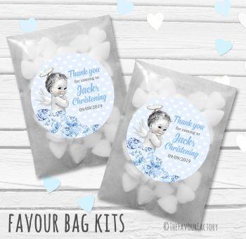 Vintage Baby Blue Florals Personalised Christening Glassine Paper Favour Bag Kits x12