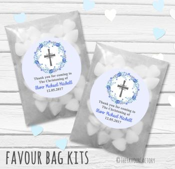 Floral Wreath Cross Blue Personalised Christening Glassine Paper Favour Bag Kits x12
