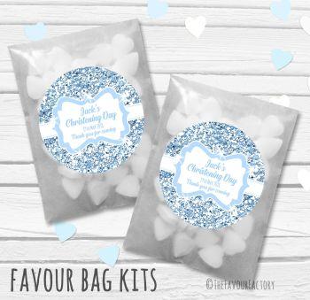 Glitter Blue Personalised Christening Glassine Paper Favour Bag Kits x12