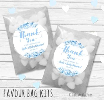 Thank You Florals Blues Personalised Baby Shower Paper Favour Sweet Bags Kits x12
