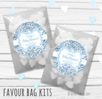 Blue Glitter Personalised Baby Shower Paper Favour Sweet Bags Kits x12