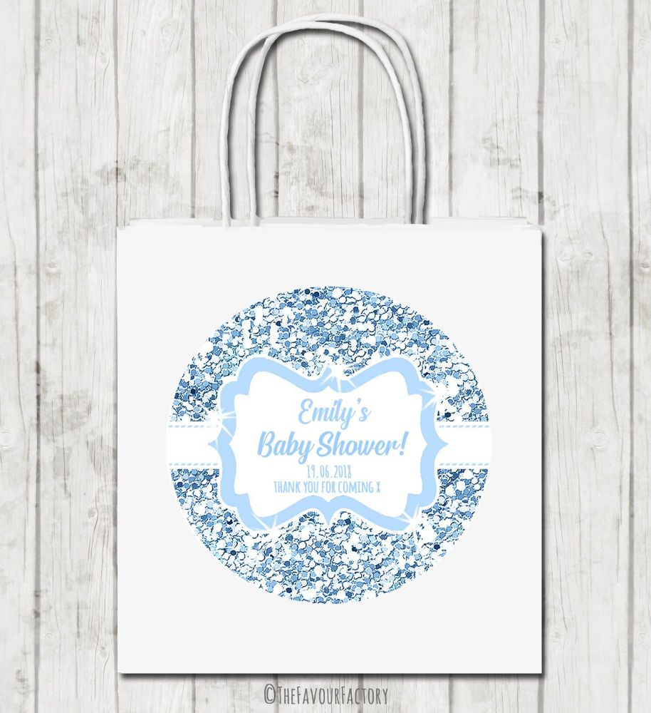Blue Glitter Personalised Baby Shower Paper Party Bags x1