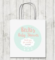 Rain Cloud Personalised Baby Shower Paper Party Bags x1