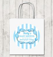 Sweets Blue Theme Personalised Baby Shower Paper Party Bags x1