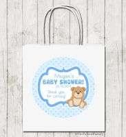 Teddy Bear Blue Personalised Baby Shower Paper Party Bags x1