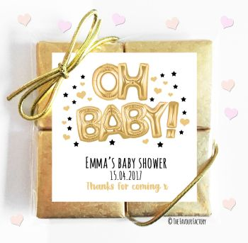 Oh Baby Gold Balloons Personalised Baby Shower 4 Chocolate Favours x1