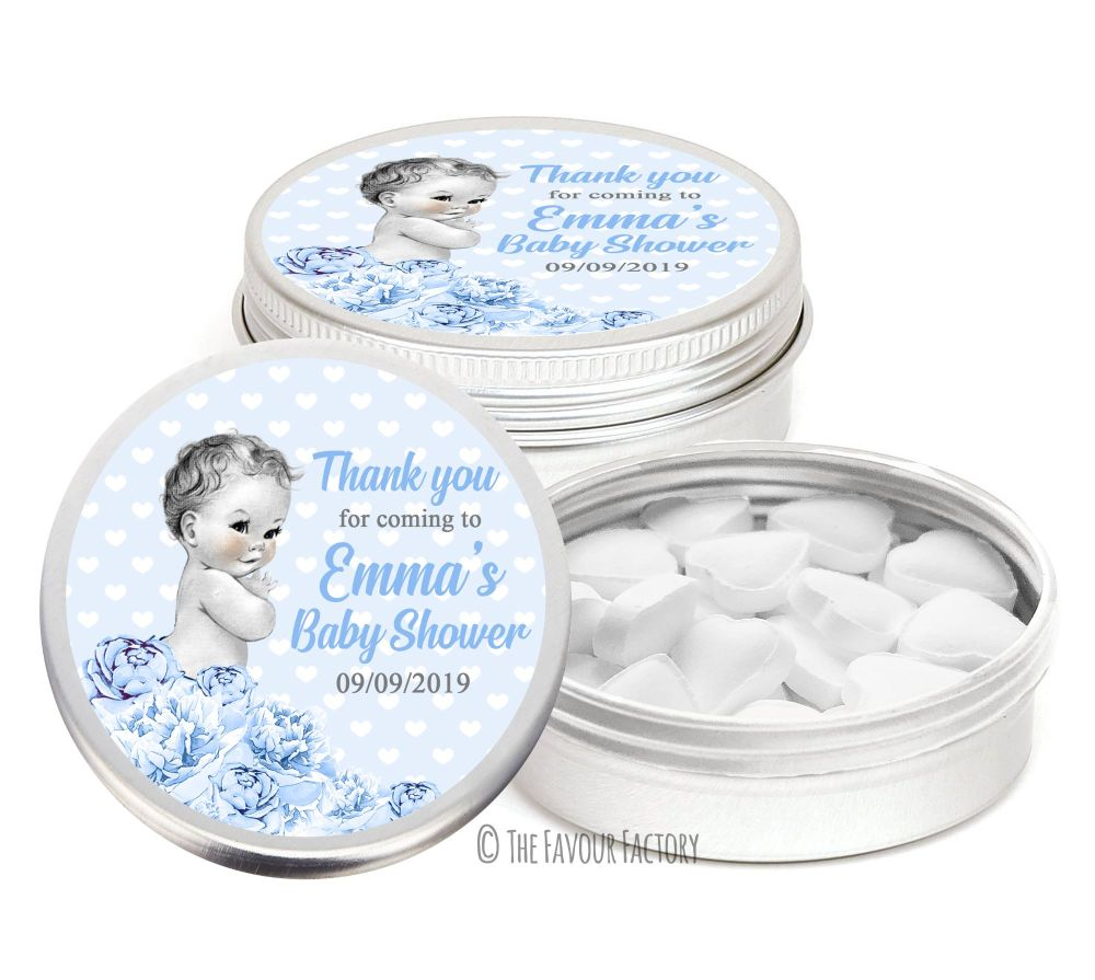 Vintage baby boy Florals Personalised Baby Shower Party Favour Tins x1