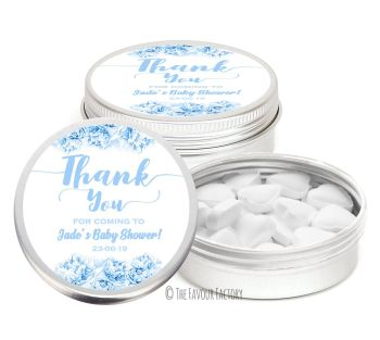 Thank You Florals Blues Personalised Baby Shower Party Favour Tins x1