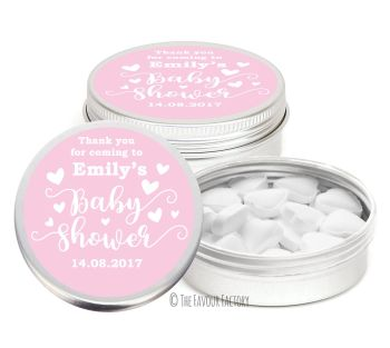 Love Hearts Pink Personalised Baby Shower Party Favour Tins x1