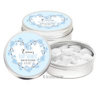 Cherry Blossoms Floral Heart Blues Personalised Baby Shower Party Favour Tins x1