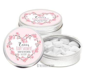 Cherry Blossoms Floral Heart Pink Personalised Baby Shower Party Favour Tins x1