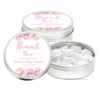 Thank You Florals Pinks Personalised Baby Shower Party Favour Tins x1