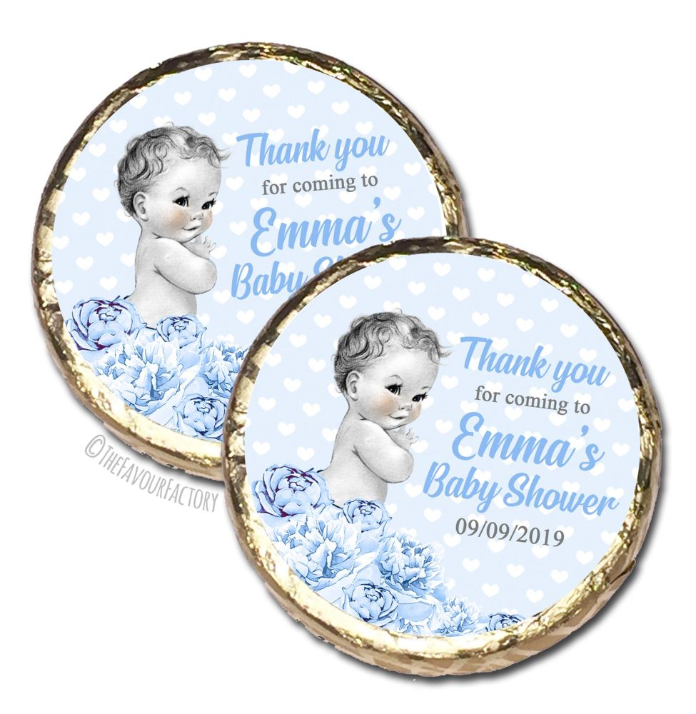 Vintage Baby Boy Florals Personalised Baby Shower Party Chocolate Favours x